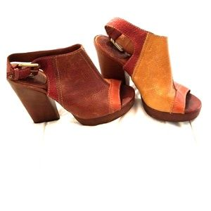 Lucky brand multi colored leather heels. Size 8